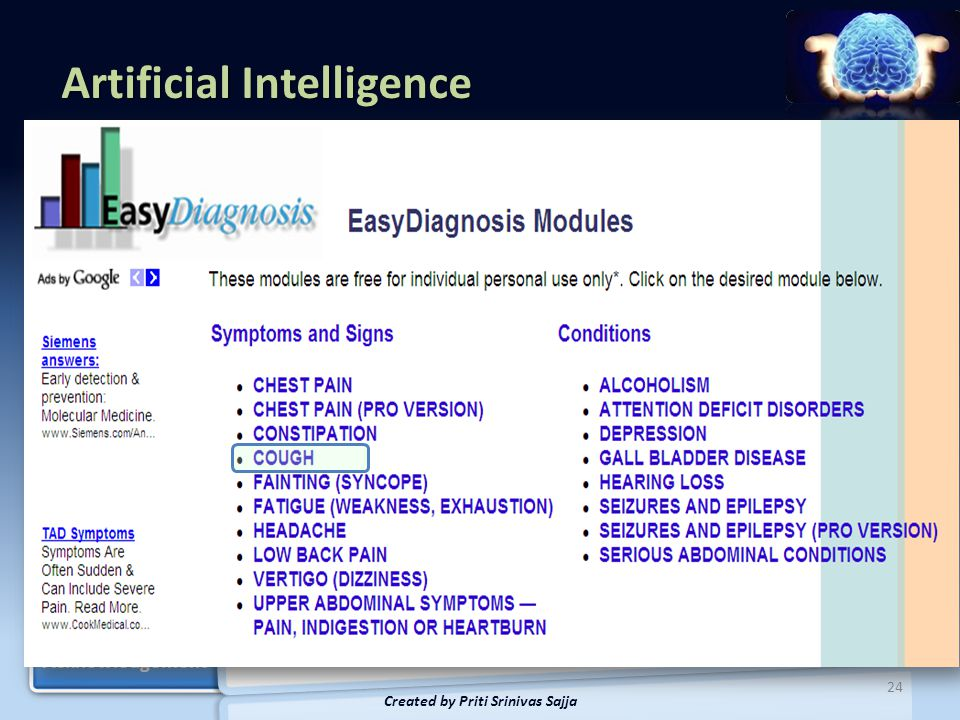 Artificial Intelligence AI Tests Applications Data Pyramid Knowledge Based Systems Knowledge Based Systems Pros and Cons Bio-inspired Example of Neuro-fuzzy Example of Neuro-fuzzy Acknowledgement Introduction 25 Created by Priti Srinivas Sajja