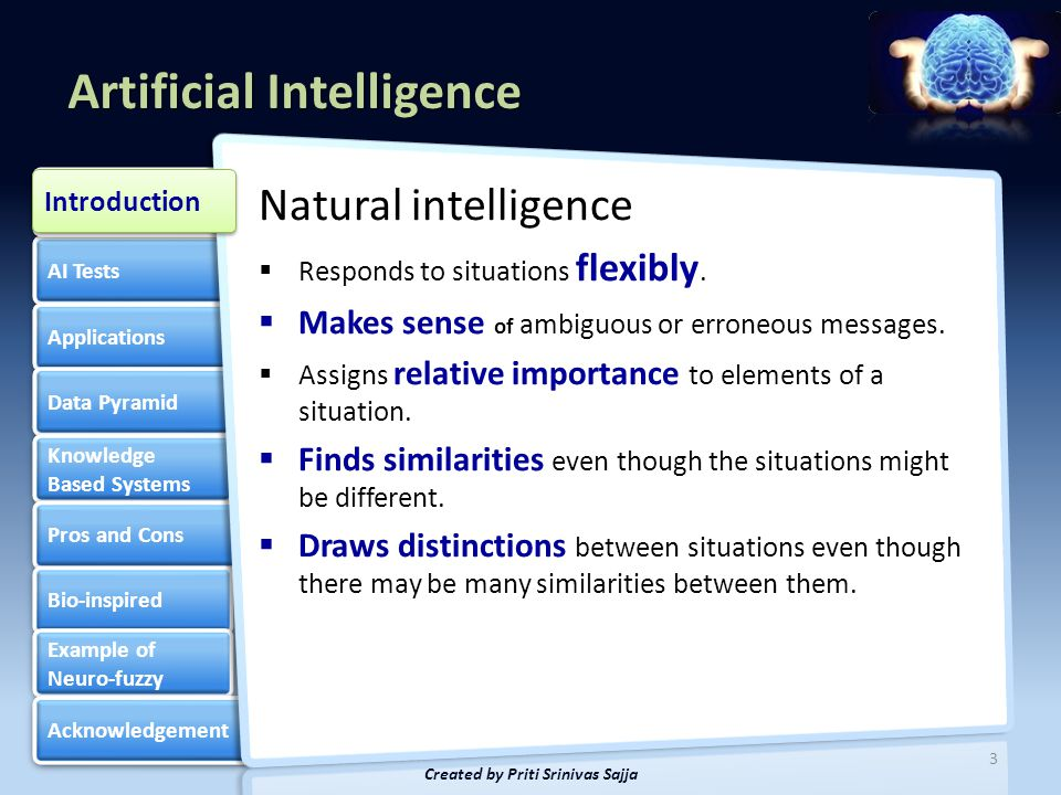 Artificial Intelligence AI Tests Applications Data Pyramid Knowledge Based Systems Knowledge Based Systems Pros and Cons Bio-inspired Example of Neuro-fuzzy Example of Neuro-fuzzy Acknowledgement Introduction 4 Created by Priti Srinivas Sajja Introduction Artificial Intelligence(AI) is the study of how to make computers do things at which, at the moment, people are better Elaine Rich, Artificial Intelligence, McGraw Hill Publications, 1986