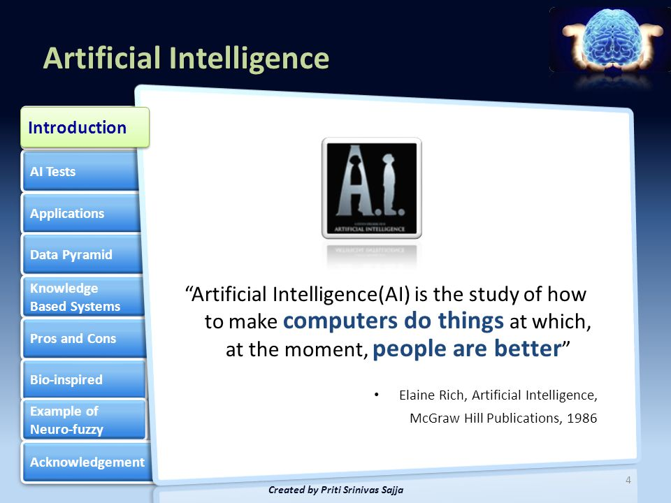 Artificial Intelligence AI Tests Applications Data Pyramid Knowledge Based Systems Knowledge Based Systems Pros and Cons Bio-inspired Example of Neuro-fuzzy Example of Neuro-fuzzy Acknowledgement Introduction 5 Created by Priti Srinivas Sajja Artificial intelligence Introduction where people are better human thought process characteristics we associate with intelligence knowledge using symbols heuristic methods non-algorithmic Constituents of artificial intelligence
