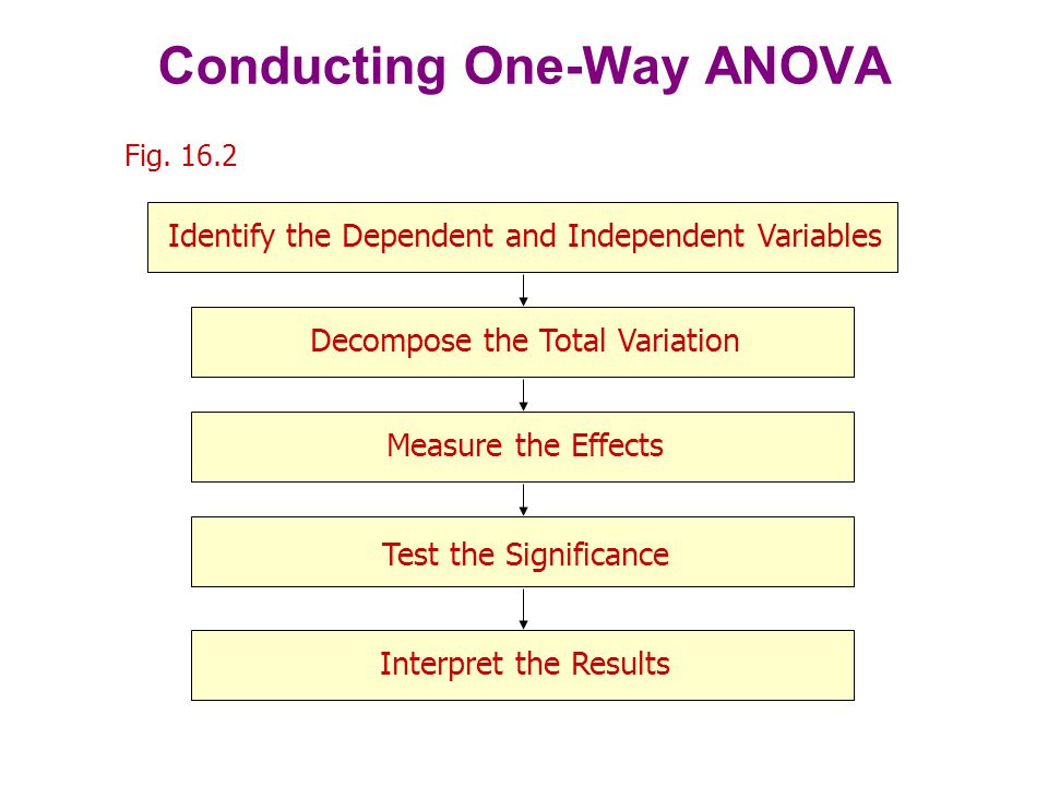 The total variation in Y may be decomposed as: SS y = SS x + SS error, where Y i = individual observation j = mean for category j = mean over the whole sample, or grand mean Y ij = i th observation in the j th category Conducting One-Way ANOVA: Decomposing the Total Variation Y Y SS y =( Y i - Y ) 2  i =1 N SS x = n ( Y j - Y ) 2  j =1 c SS error =  i n ( Y ij - Y j ) 2  j c
