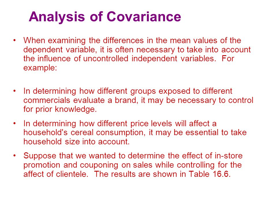 Analysis of Covariance Sum ofMeanSig.