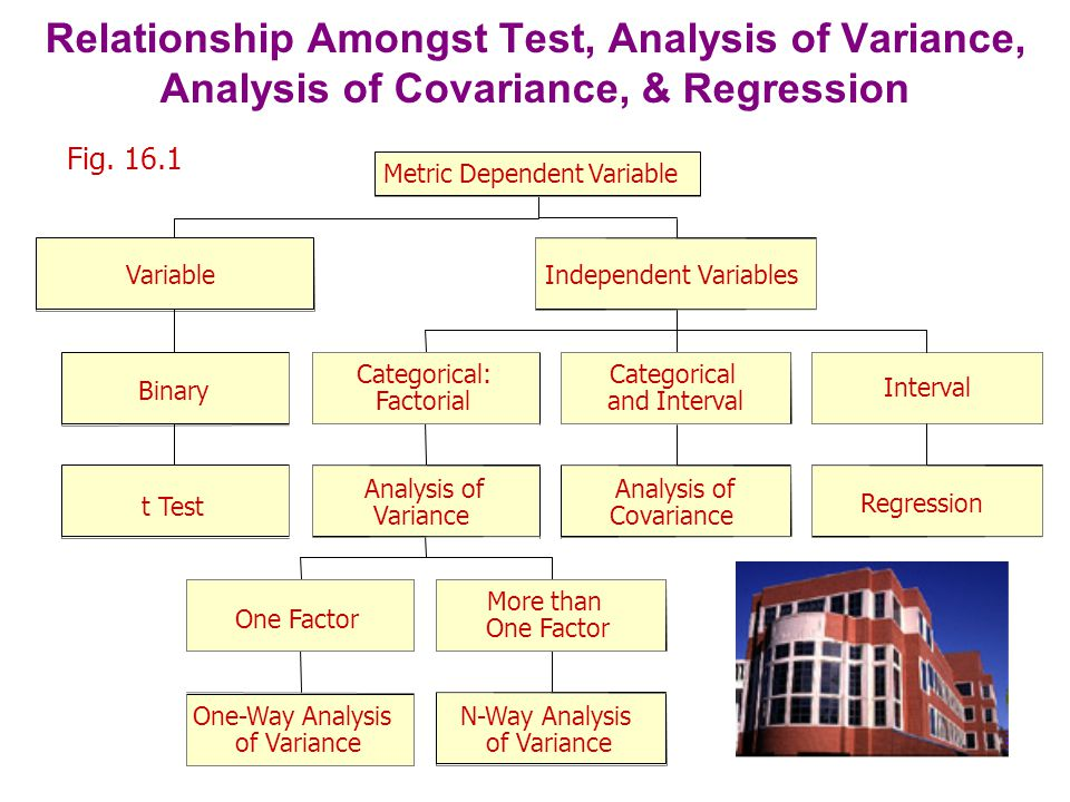 One-Way Analysis of Variance Marketing researchers are often interested in examining the differences in the mean values of the dependent variable for several categories of a single independent variable or factor.