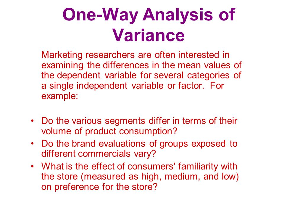Statistics Associated with One-Way Analysis of Variance F statistic.