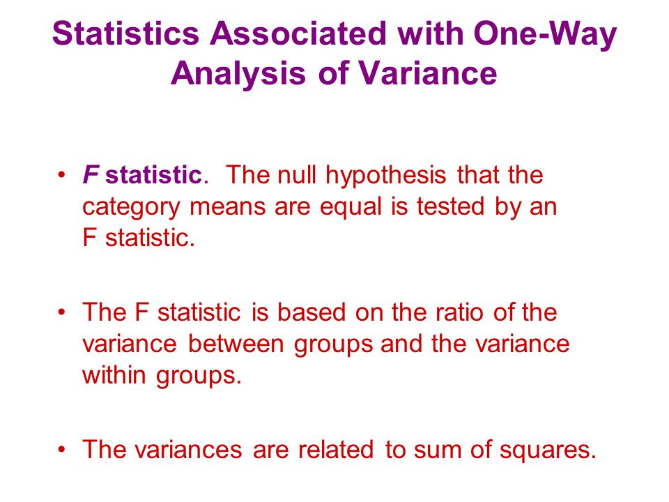 Statistics Associated with One-Way Analysis of Variance SS between.