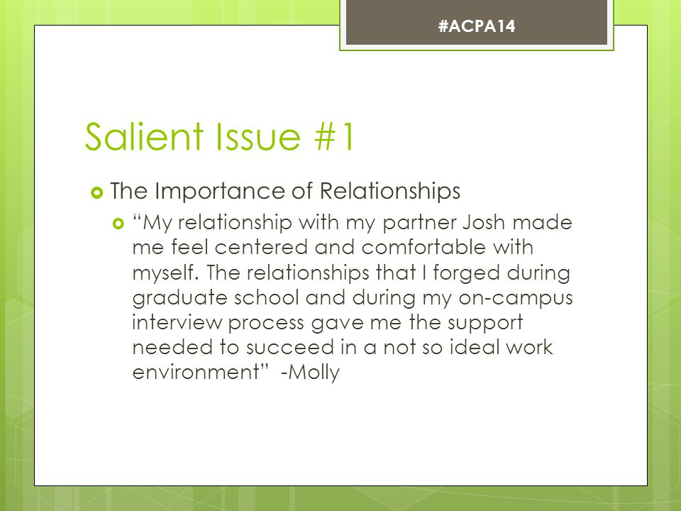 Salient Issue #1  The Importance of Relationships  My relationship with my partner Josh made me feel centered and comfortable with myself.