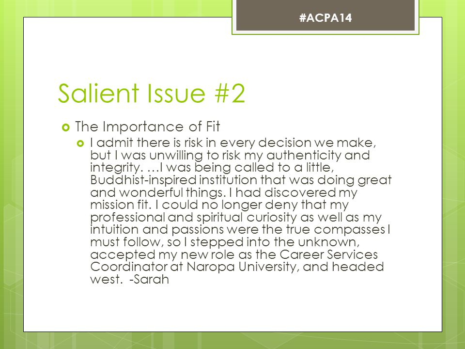 Salient Issue #2  The Importance of Fit  I admit there is risk in every decision we make, but I was unwilling to risk my authenticity and integrity.