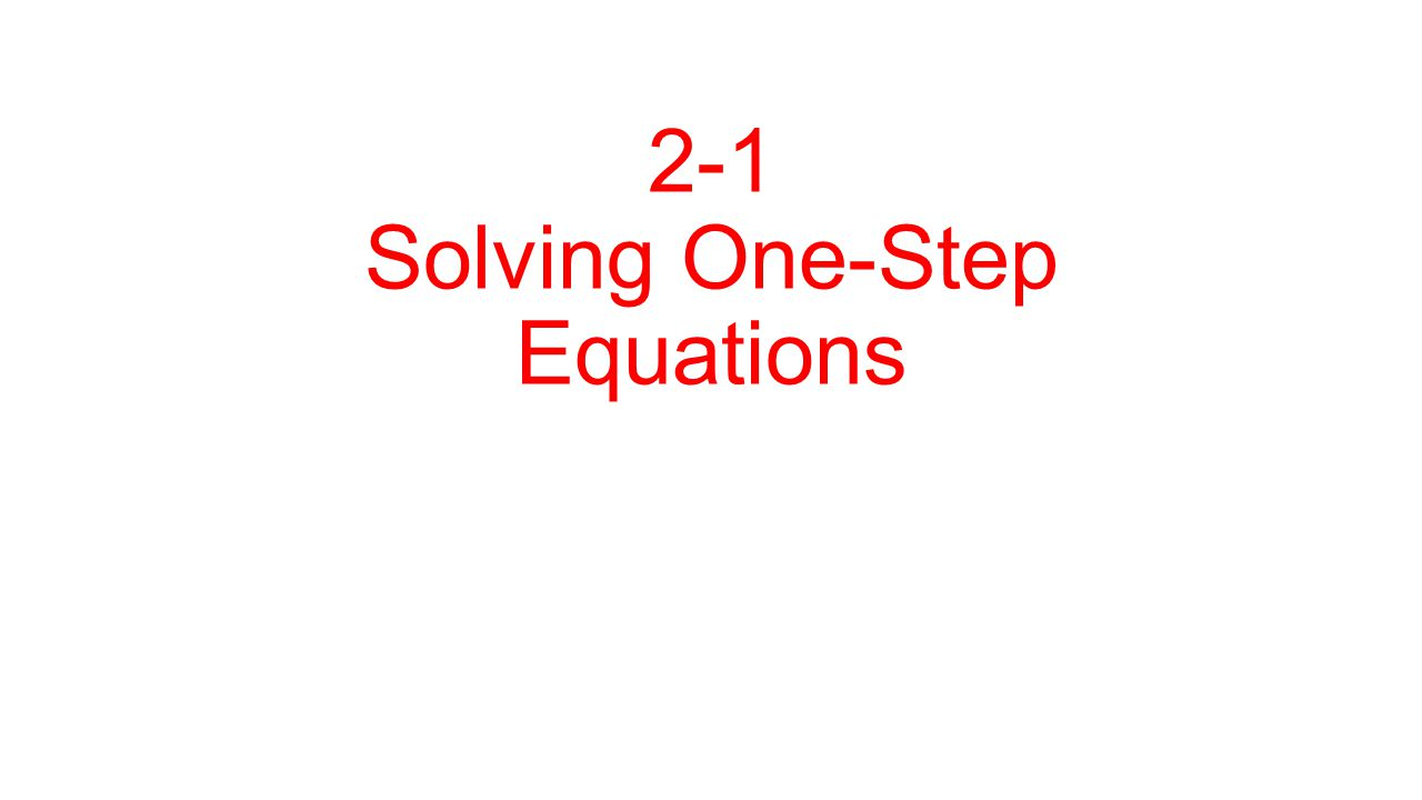 Goal: To isolate the variable How do you do this : Use Inverse Operation (Opposite) Addition → Subtraction Multiplication → Division Follow the Rules of Integers