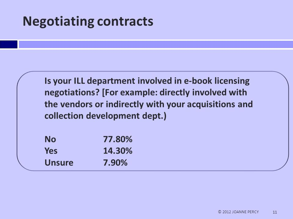 Too often the Interlibrary loan department isn't part of the discussion…  Acquisitions and Collection Development MUST include an ILL representative © 2012 JOANNE PERCY 12
