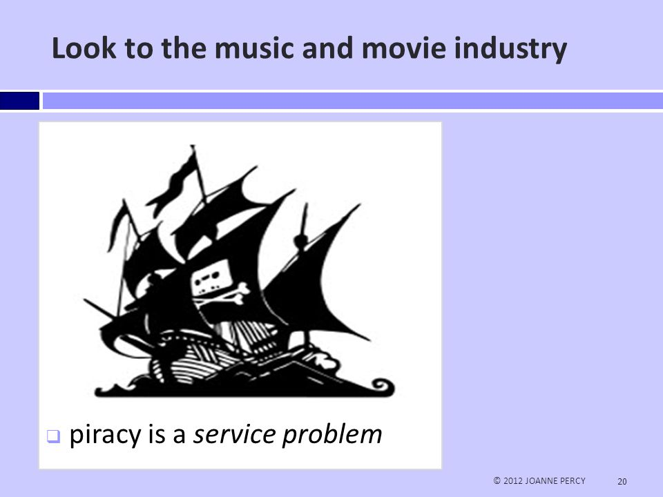 End the Library-Publisher war – give them a profit motive © 2012 JOANNE PERCY 21  Users expect an iTunes experience  They are also prepared to pay for it