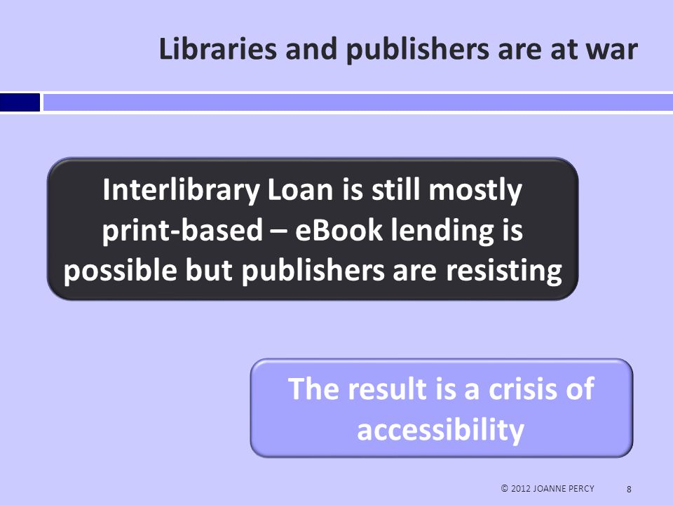 Lending eBooks © 2012 JOANNE PERCY 9 Does your library/organization loan e- books via Interlibrary loan.