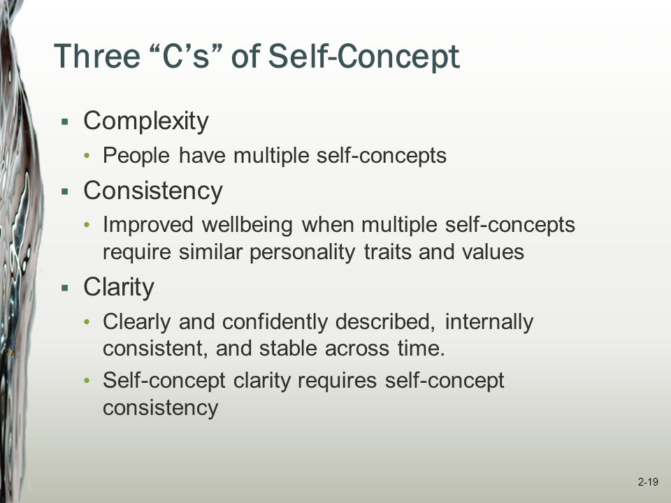 Four Selves of Self-Concept  Self-enhancement Promoting and protecting our positive self-view  Self-verification Affirming our existing self-concept (good and bad elements)  Self-evaluation Evaluating ourselves through self-esteem, self- efficacy, and locus of control  Social self Defining ourselves in terms of group membership 2-20