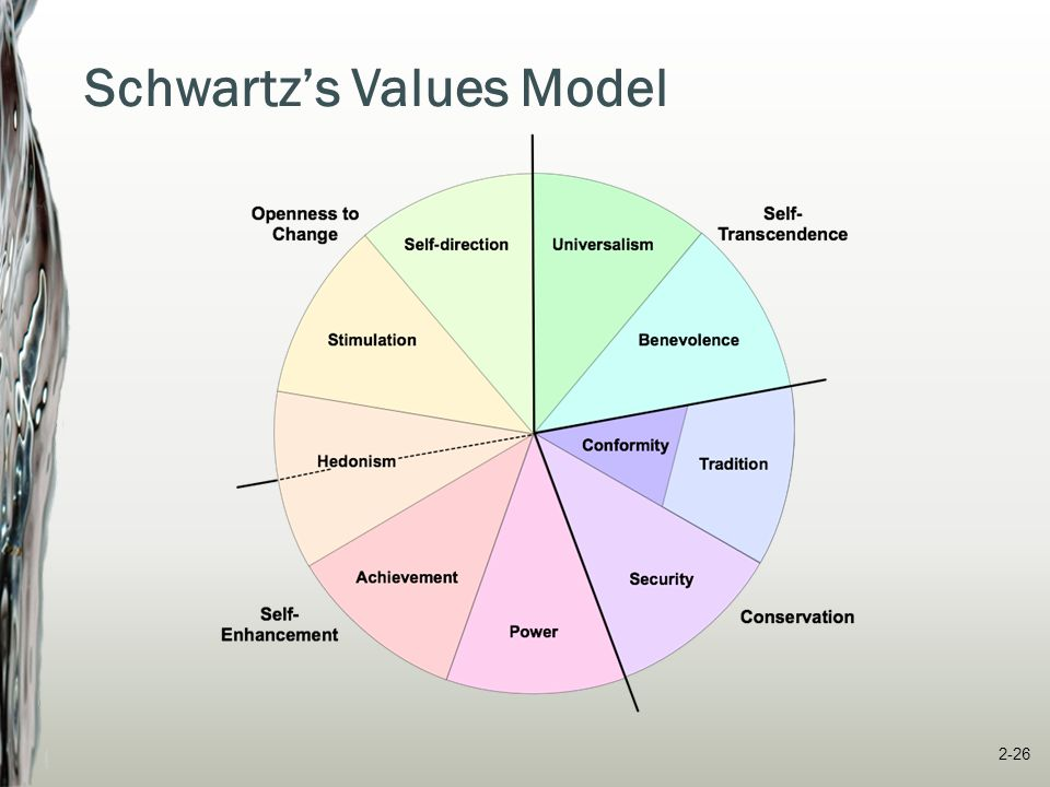 Schwartz's Values Model  Openness to change – motivation to pursue innovative ways  Conservation -- motivation to preserve the status quo  Self-enhancement -- motivated by self-interest  Self-transcendence -- motivation to promote welfare of others and nature 2-27