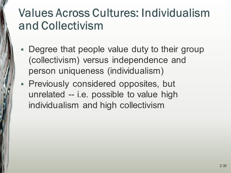 Individualism The degree to which people value personal freedom, self-sufficiency, control over themselves, being appreciated for unique qualities Denmark Taiwan Italy High Individualism U.S.
