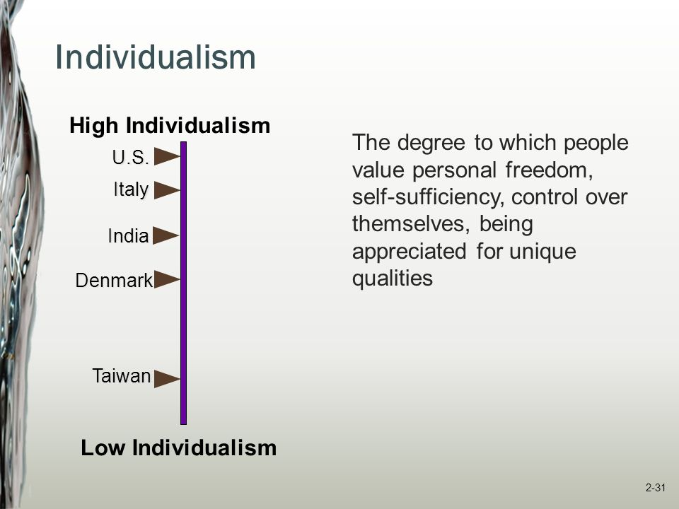 Collectivism The degree to which people value their group membership and harmonious relationships within the group India U.S.