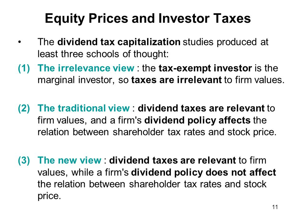 If a tax law change is expected to be temporary, both the new view and the traditional view suggest that the firm s dividend policy has an influence on the relation between dividend taxes and share prices.