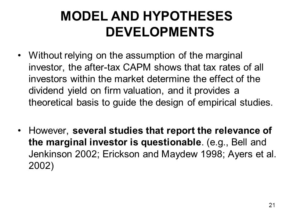 We further assume that in the short run, the enactment of the integrated tax system only changes the dividend tax burdens of investors without changing other parameters.