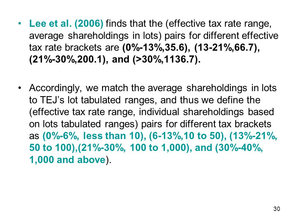 To test our hypotheses, we estimate following regression models: WAT i = the measure of the weighted average income tax rate of all shareholders in firm i, which is equal to INSTD i *(1-25%)+INSTF i *(1-20%)+INA i *(1-6%)+INB i *(1- 13%)+INC i *(1-21%)+IND i *(1-30%)+INE i *(1-40%); 31