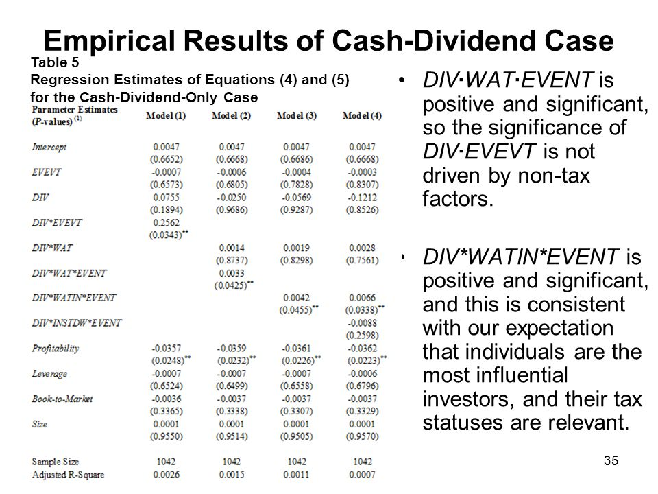 Empirical Results of Stock-Dividend Case The results of stock- dividend is similar to those of the cash- dividend case.