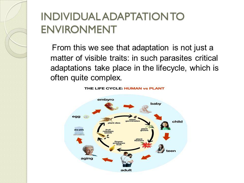 INDIVIDUAL ADAPTATION TO ENVIRONMENT For the environment