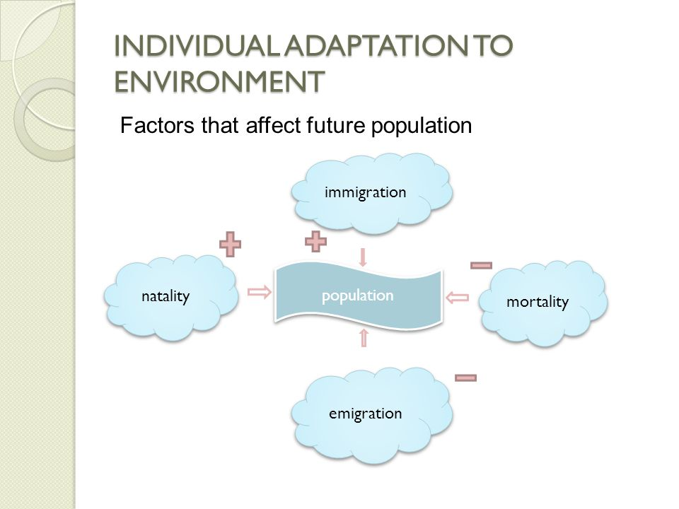 INDIVIDUAL ADAPTATION TO ENVIRONMENT Key future of populations:  Dispersion: Describes their spacing relative to each other.