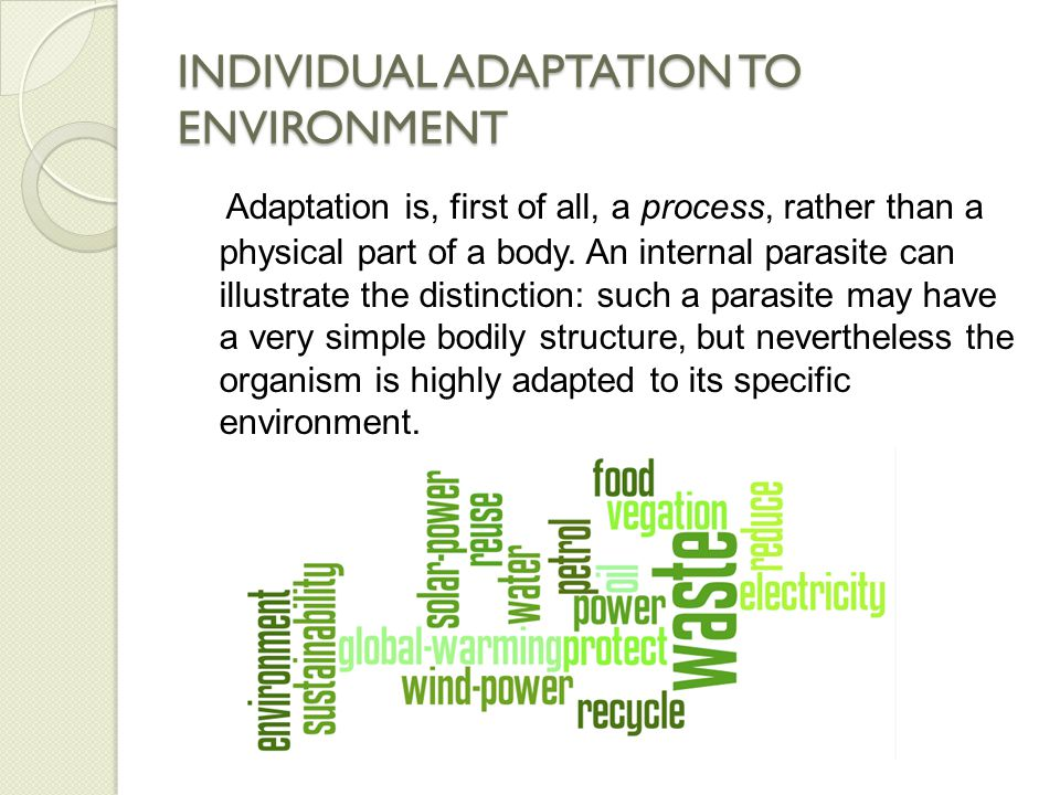 INDIVIDUAL ADAPTATION TO ENVIRONMENT From this we see that adaptation is not just a matter of visible traits: in such parasites critical adaptations take place in the lifecycle, which is often quite complex.