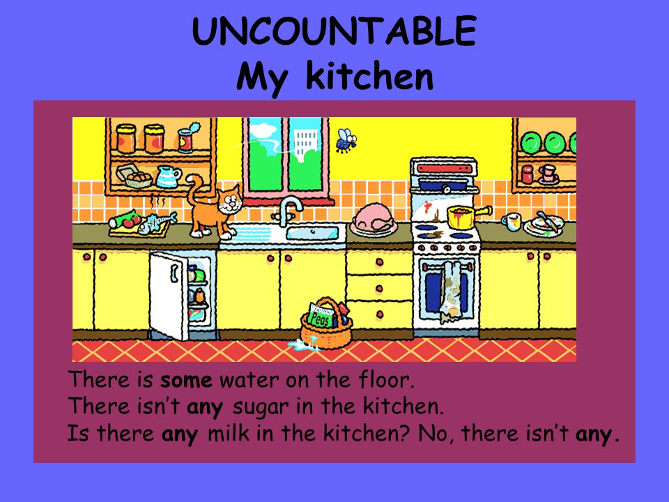 UNCOUNTABLE My kitchen There is some water on the floor.