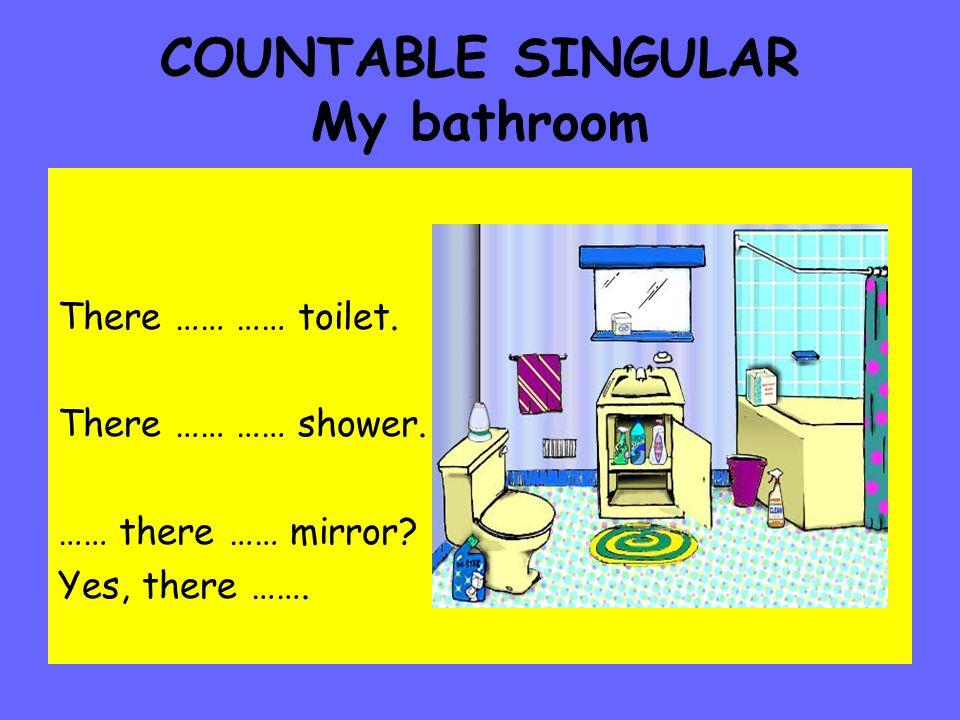 COUNTABLE SINGULAR My bathroom There …… …… toilet.