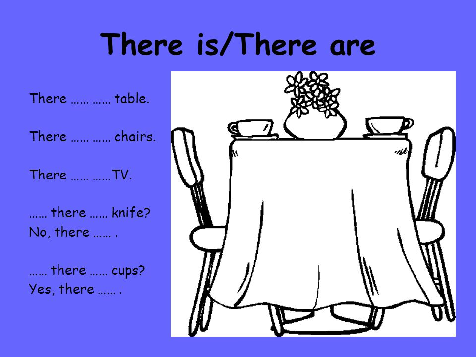 There is/There are There …… …… table.There …… …… chairs.