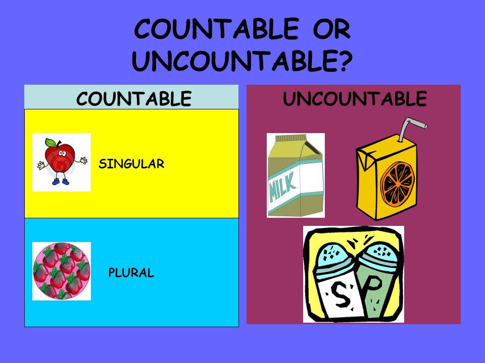 COUNTABLE OR UNCOUNTABLE? COUNTABLE UNCOUNTABLE SINGULAR PLURAL