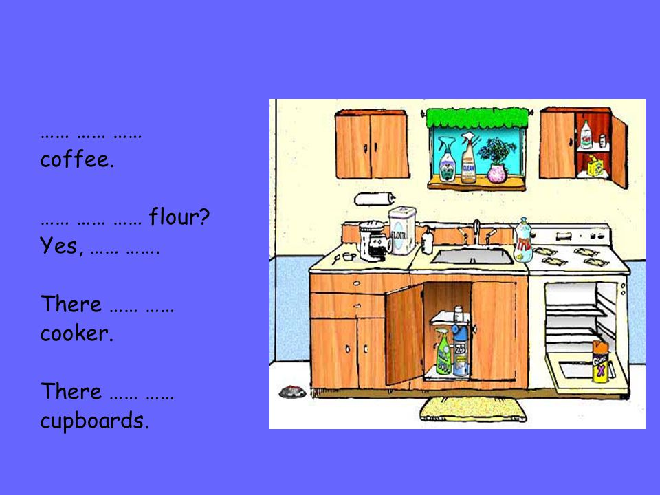 …… …… …… coffee. …… …… …… flour? Yes, …… ……. There …… …… cooker. There …… …… cupboards.
