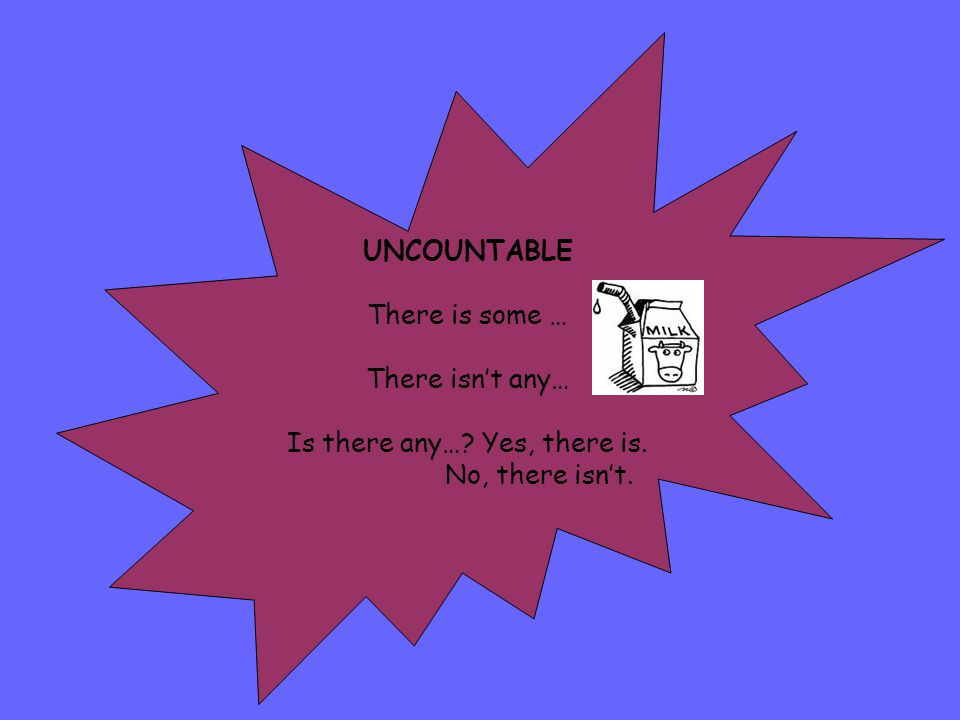 UNCOUNTABLE There is some … There isn't any… Is there any…? Yes, there is. No, there isn't.