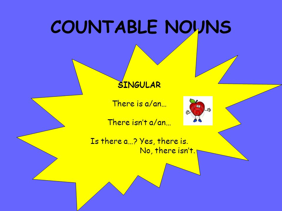 COUNTABLE NOUNS SINGULAR There is a/an… There isn't a/an… Is there a….