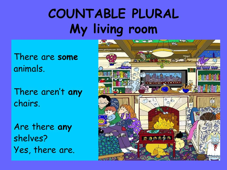 COUNTABLE PLURAL My living room There are some animals.
