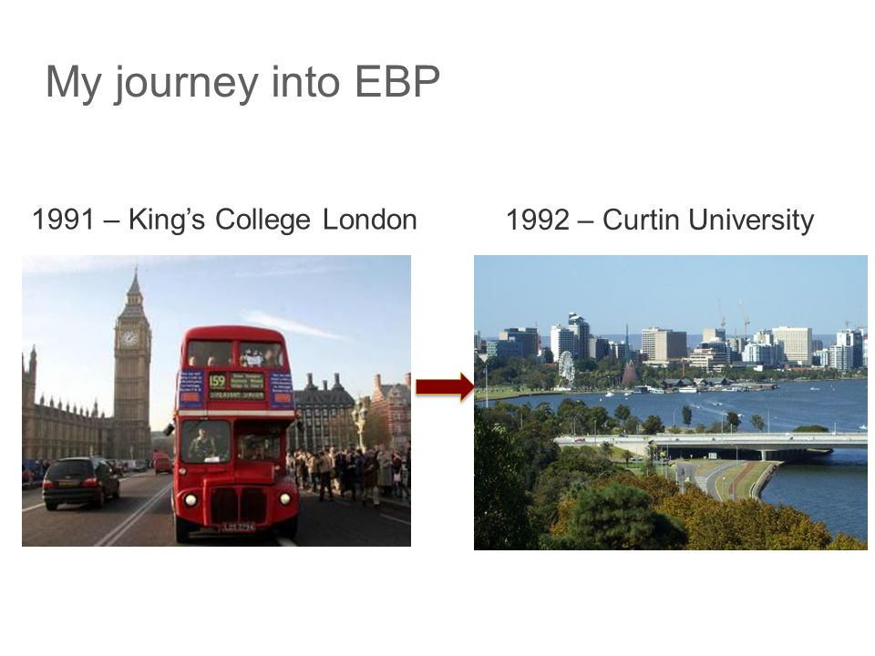 Journey cont'd  1992-97 – F/T academic  1997 – sought P/T clinical work  Area with strong evidence (pulmonary rehabilitation)  Patient-centred outcomes  Research opportunities  Team of 3 physios (Nola Cecins, Jackie Frankel)  Approached teaching hospitals – 0.3 FTEappt at Sir Charles Gairdner Hospital  1998 – clinical and research placement (UK)