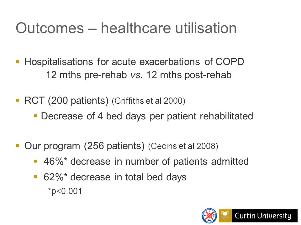 Process evaluation – unmet needs  Process evaluation (Cockram et al 2006)  15% patients unable to attend out-patient program  2002 – supervised home-based program  Benefits of pulmonary rehab last 6-12 mths (Nici et al 2006)  1998 – maintenance classes in non-medical facilities (Community Physiotherapy Services)  Maintained gains in 6MWD and HRQoL, reduction in HCU sustained (Cockram et al 2006, Cecins et al 2013)