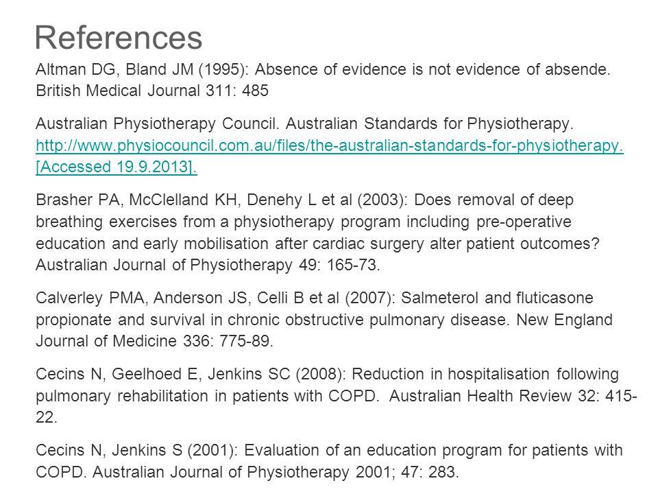 Cecins N, Jenkins S, Cockram J (2013): Community-based maintenance (Phase 3) pulmonary rehabilitation – uptake, attrition and hospitalisation.