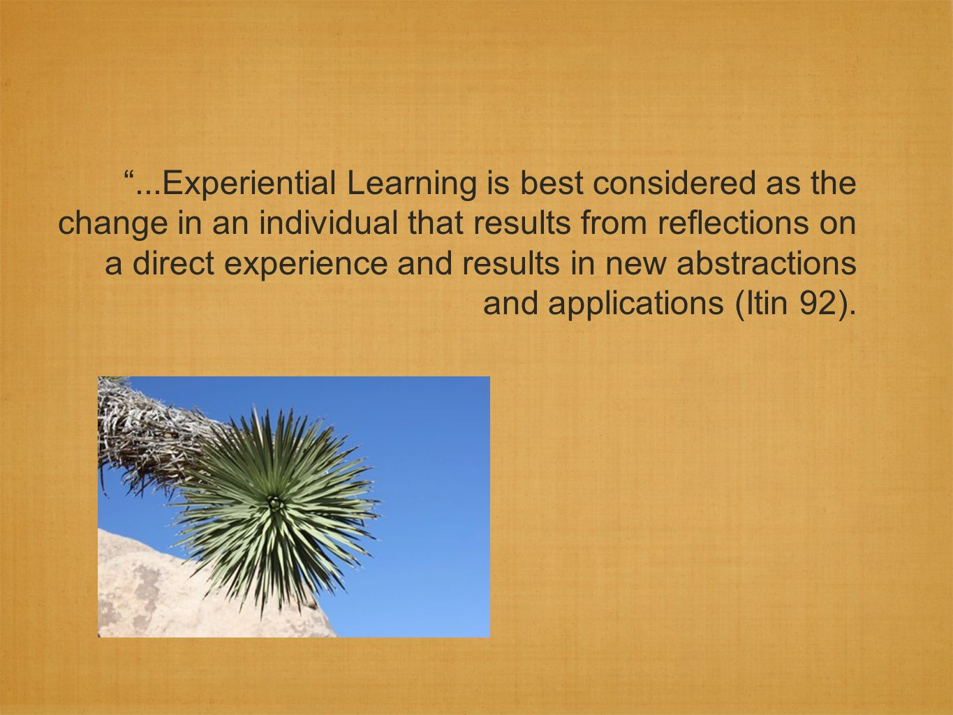Experiential Education must include or make clear the transactive component between teacher and learner which is absent from the definition of experiential learning (Itin 92).
