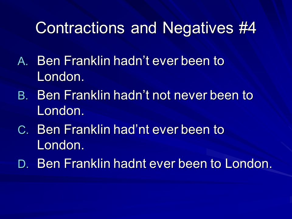 Contractions and Negatives #5 A.