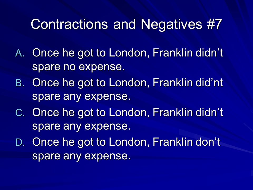 Contractions and Negatives #8 A.