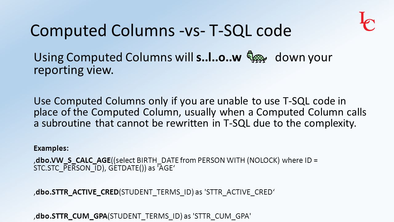 Remember to use WITH (NOLOCK) on all FROM and JOIN statements: SELECT ….
