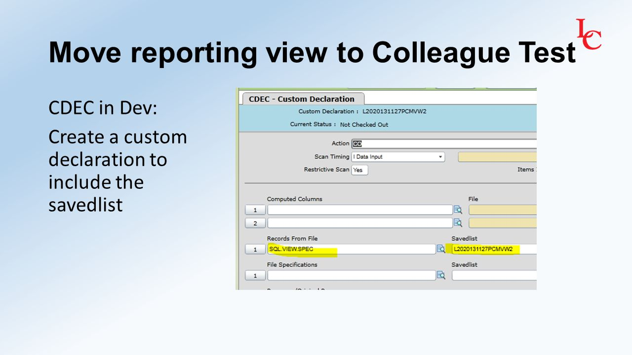 Move reporting view to Colleague Test CPKG in Dev: Create a custom package to include the custom declaration Then in MSUG in Test, install the package in a group