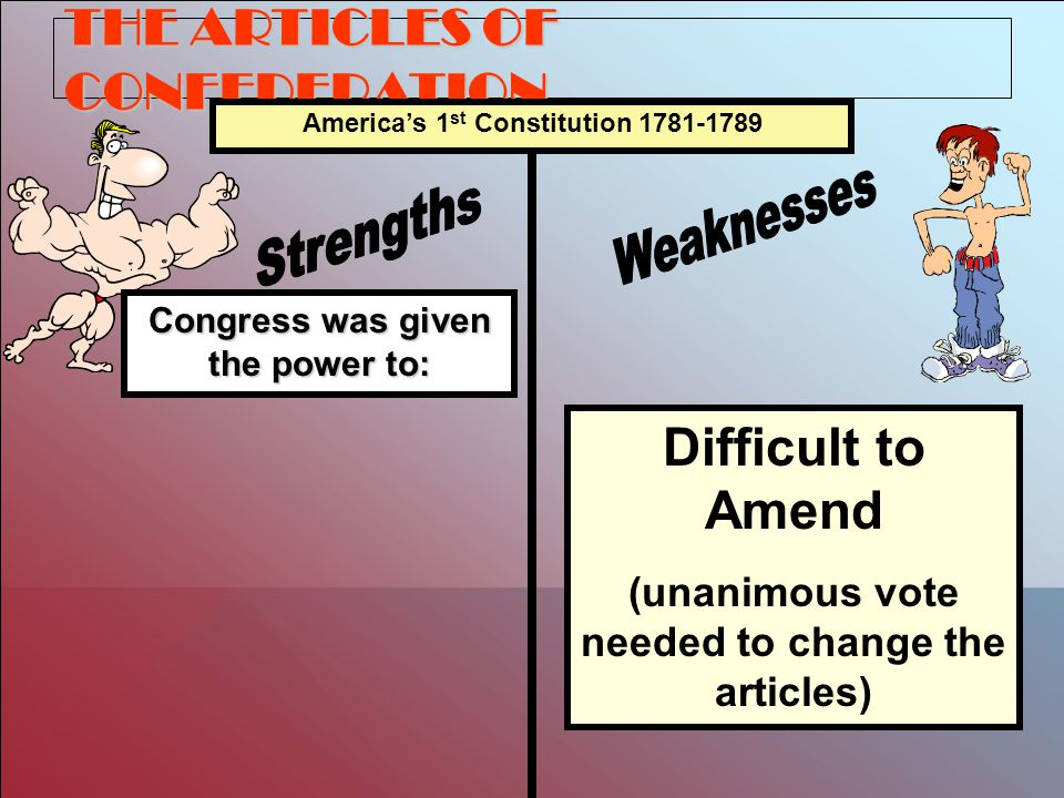 THE ARTICLES OF CONFEDERATION Congress was given the power to: America's 1 st Constitution 1781-1789 Difficult to Amend (unanimous vote needed to change the articles)