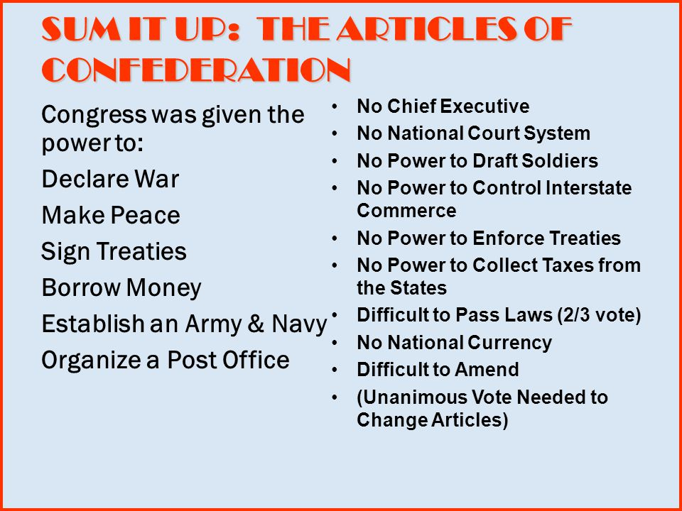 SUM IT UP: THE ARTICLES OF CONFEDERATION Congress was given the power to: Declare War Make Peace Sign Treaties Borrow Money Establish an Army & Navy Organize a Post Office No Chief Executive No National Court System No Power to Draft Soldiers No Power to Control Interstate Commerce No Power to Enforce Treaties No Power to Collect Taxes from the States Difficult to Pass Laws (2/3 vote) No National Currency Difficult to Amend (Unanimous Vote Needed to Change Articles)