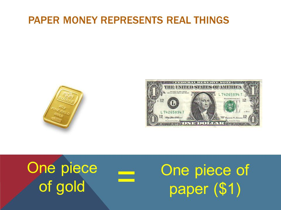 PAPER MONEY REPRESENTS REAL THINGS = One piece of paper ($1) One piece of gold