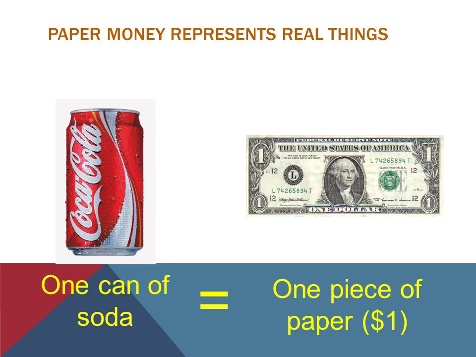 PAPER MONEY REPRESENTS REAL THINGS = One piece of paper ($1) One can of soda