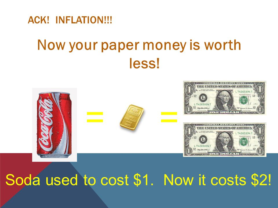 ACK! INFLATION!!! Now your paper money is worth less! == Soda used to cost $1. Now it costs $2!