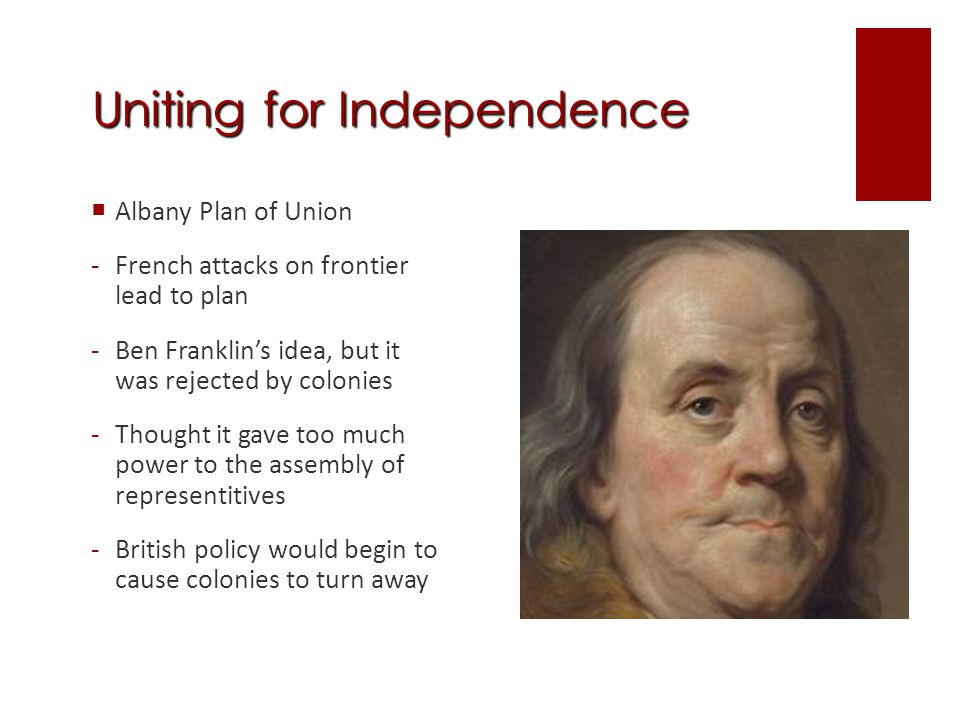Uniting for Independence Stamp Act Congress -1765, nine colonies sent delegates to NY -First organized meeting of the colonies to protest King George III -They sent a petition to the king arguing who could impose direct taxes