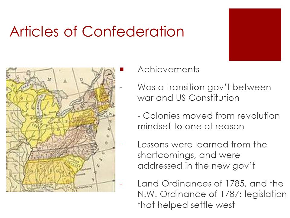 Articles of Confederation  Treaty with Britain post Rev.