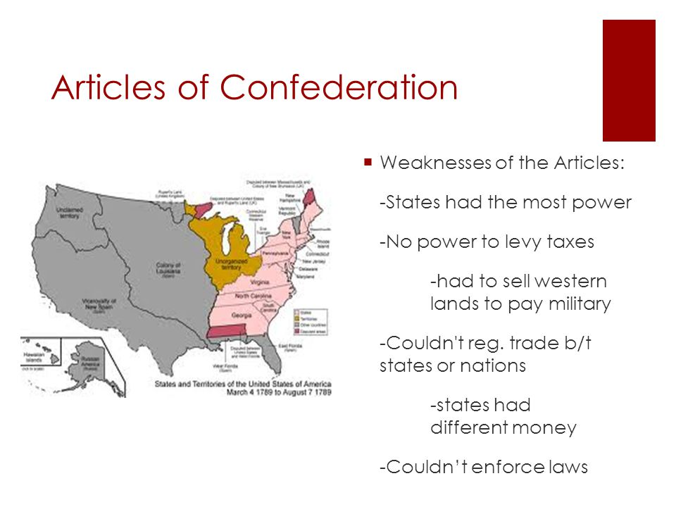 Articles of Confederation  Laws needed approval by 9 of the 13 states, often 9 or 10 showed up to sessions -5 smaller states could block the 8 larger  Amending required all to agree, it never happened  There was no executive to promote unity and help coordinate policy between committees of Congress -wanted to avoid another king