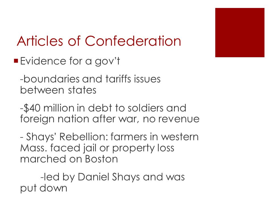 Articles of Confederation  George Washington invited reps.